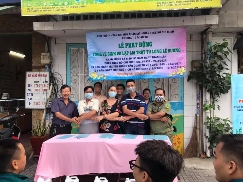 Đoàn Phường 10 phối hợp BCH Quân sự, Khu phố 3 tổ chức Lễ phát động tổng vệ sinh và lập lại trật tự lòng lề đường